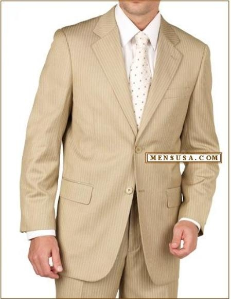 SKU#D622SI Tan~Beige~Bronz Pinstripe 2 Button Double Vent Mens Suit $189