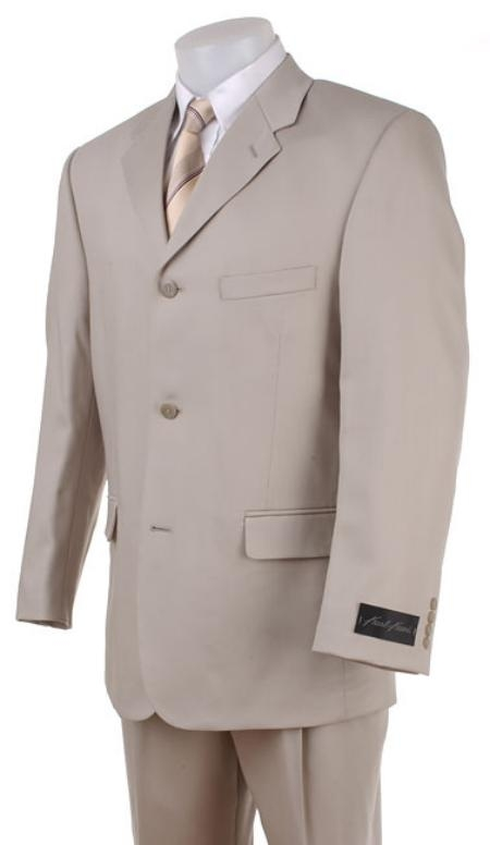 SKU# KL14 Tan ~ Beige~Light Taupe~Sand Wool Blend Khaki polyester Summer suit $175