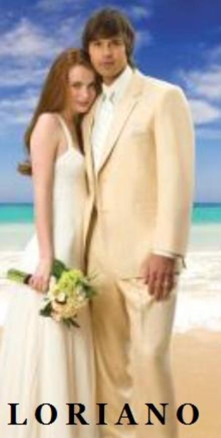 SKU#S81203 Tan~Beige Mixed With Peach~Schampagne Light Weight  Two Button Style Weddin Suit