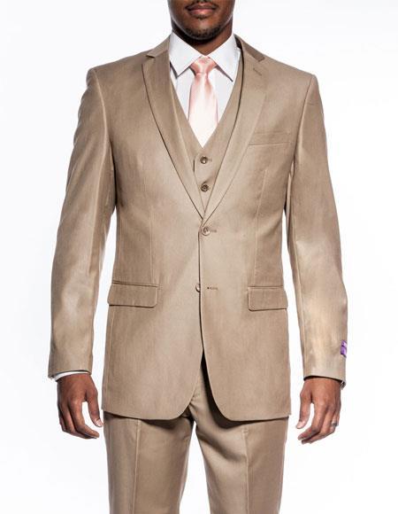Buy CH2097 Mens 3 piece slim fit wedding prom Tan ~ Beige vested suit