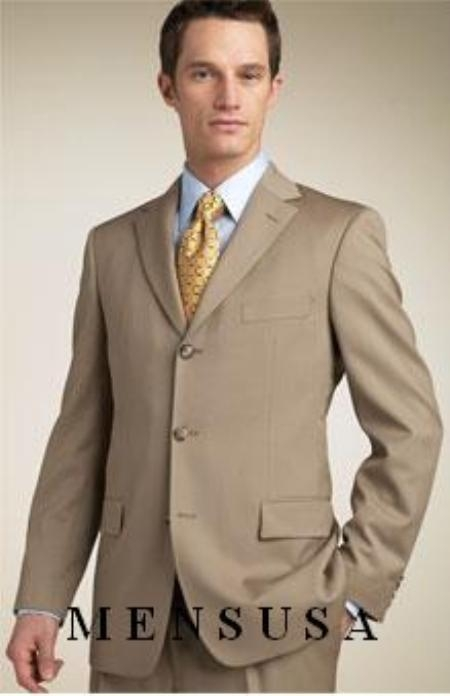 SKU# Zt8 Tan ~ Beige/Bronz Super 140s Wool 3 Button Mens Suits