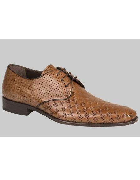 Buy AP461 Mens Tan Calfskin Lace Checker Pattern Leather Shoes Authentic Mezlan Brand