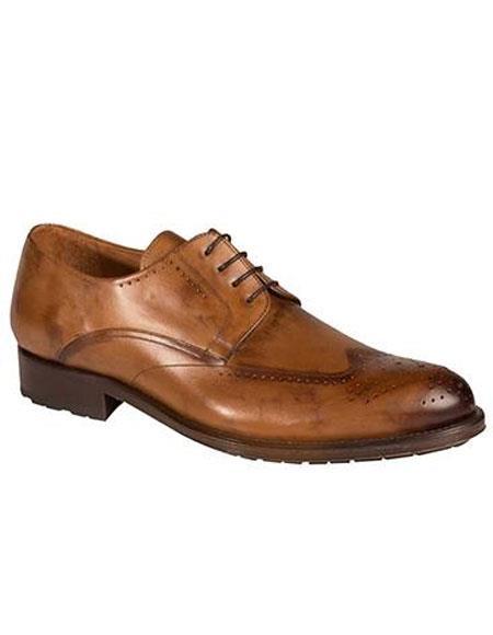 Buy AP488 Mens Tan Calfskin Lace Wingtip Oxford Leather Shoes Authentic Mezlan Brand