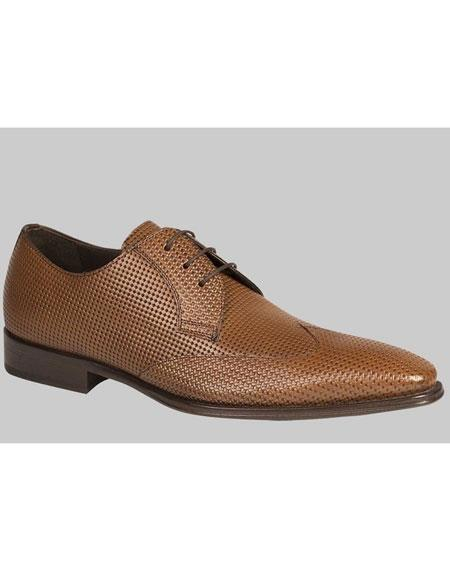 Buy AP452 Mens Tan Perforated Calfskin Wingtip Lace Leather Shoes Authentic Mezlan Brand