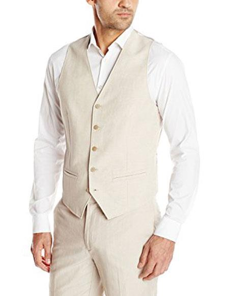Mens Linen Dress Tuxedo Wedding Vest & Pants Package Set Available in Natural Sand Tan color
