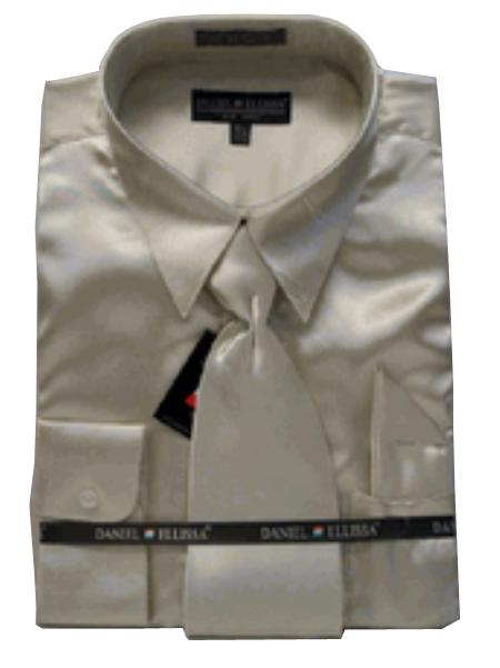 SKU#PN233 Mens New Tan ~ Beige Satin Dress Shirt Tie Combo Shirts