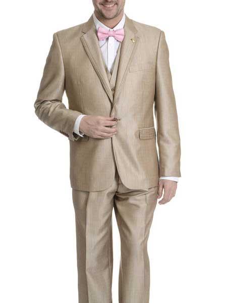 Falcone Mens 1 Button V-neck Khaki ~ Tan Single Breasted Tuxedo