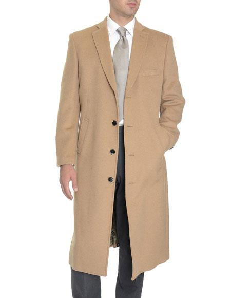 Mens Dress Coat Tan 4 Buttons Single Breasted Full Length Wool Cashmere Blend Overcoat Top Coat