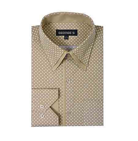 Tan Mini Polka Dot Design Classic Fit Standard Cuff Men's Dress Shirt