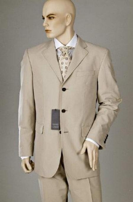 SKU# GKL1793BSV Tan ~ Beige Double Vent Super 120s Wool Mens Dress Buienss 3 Buttons Suits