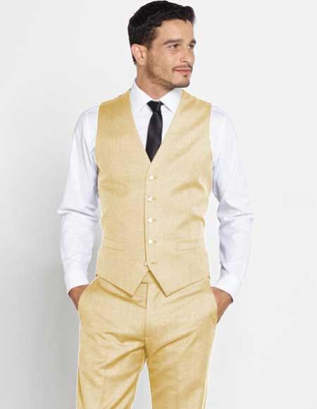Buy SM2964 Mens Vest Matching Solid Tan Dress Pants Set + Color Shirt & Tie Wool Regular Fit
