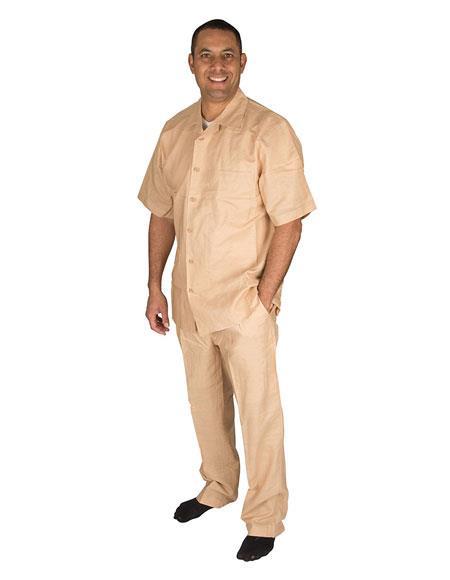 Mens Short Sleeve Button Closure Tan 100% Linen 2 Piece Shirt