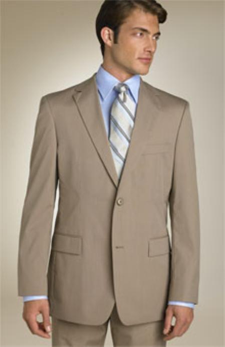 SKU# QPA606 Mens Classic Business Dark Tan ~ Beige~Coffe~Mocca 2 Button 100% Wool
