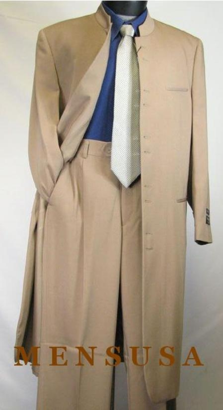 SKU# MUHM45GA Tan ~ Beige/Taup/khakii Matrix Style 45 Icnh Full Length Mandarin Collar 10 Button (5 x 2 Pair ) $189