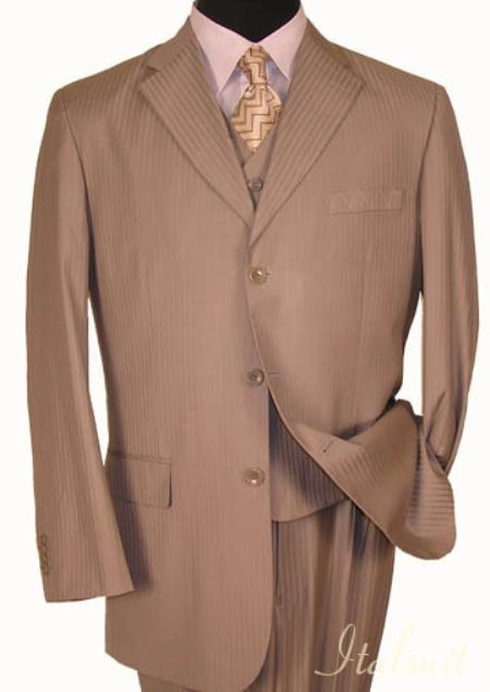 SKU#SH787 Tan 3PC 3 Button Tone On Tone Mens three piece suit $275