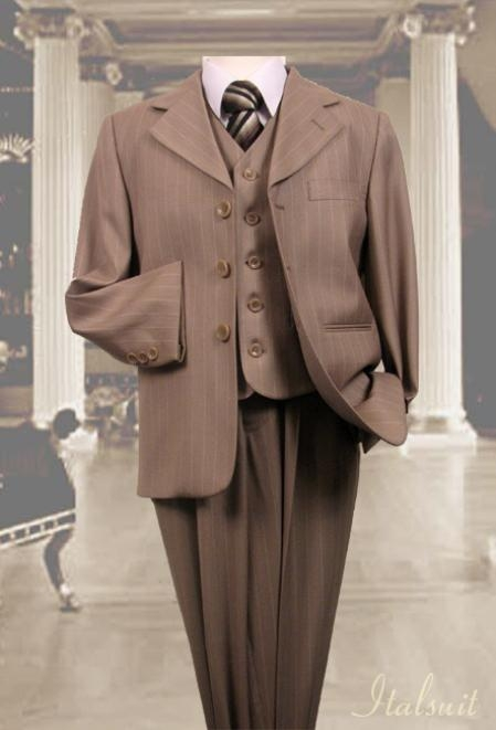 SKU#RG9402 Tan ~ Beige 3pc Pinstripe Suit With Vest For Kids