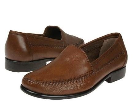 SKU# : 67022 Tan A-line slip-on with tumbled leather. Leather sole $99