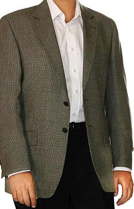 SKU#IL8906 Tan ~ Beige Check Two Button Fall/Winter Men's Sport Coat