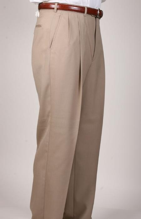 SKU#QJ9029 British Tan ~ Beige Parker Pleated Pants Lined Trousers