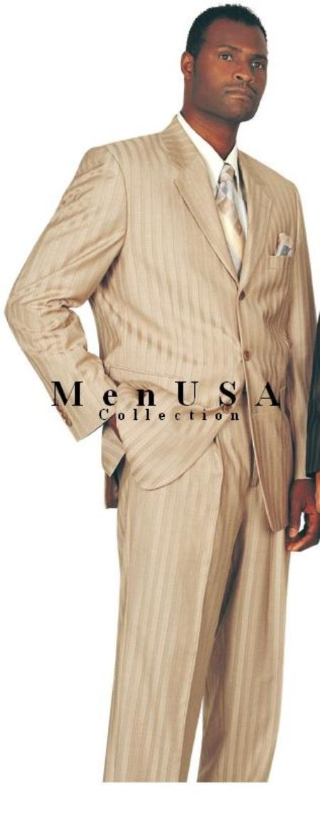 SKU#TNT3 Tan Shadow Stripe Premier Quality Italian Fabric Real Clearance Sale Wool Feel Touch Poly Rayon Ton on Ton Pinstripe Double Vent + Match $225