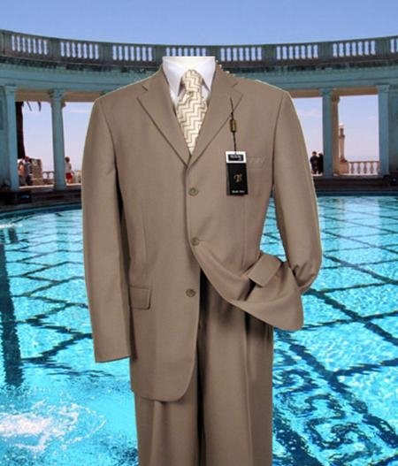 SKU#ND101 Tan Solid Suit Super 150s Hand Made With No Pleated Pants $169