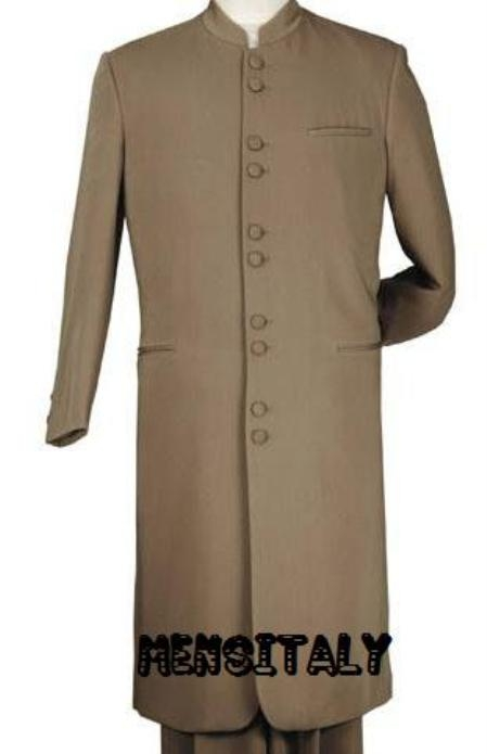 SKU# MUHM45GA Tan ~ Beige/Taup/khaki  Matrix Style 45 Icnh Full Length Mandarin Collar 10 Button (5 x 2 Pair) $139