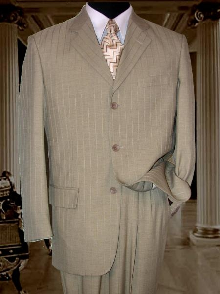 SKU#SM200 Tan ~ Beige Tone On Tone Stripe ~ Pinstripe Suit Super 120s Hand Made