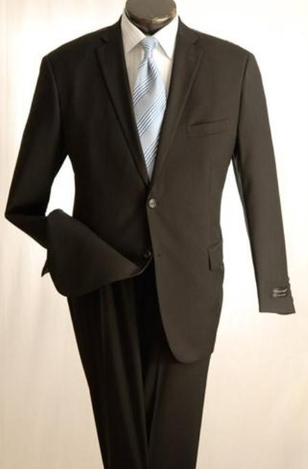"SKU#UT2 Taper Slim"" Cut Design Narrow Lapels Flat Front Trousers Black 2 Button"