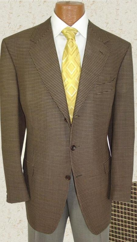 SKU# MYA754 Taup 3 Button Sport Jacket Super 120s Mens Suit $139