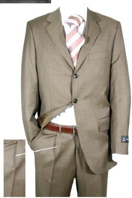 SKU# JA231 Taup Mini Pindots Teakweave Nailhead Salt & Pepper Birdseye Patterned 3 Buttons Super 120s Mens Suits $199