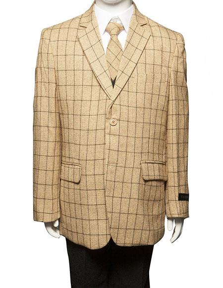 Boys ~ Kids ~ Children Toddler Plaid ~ Windowpane Pattern Kids Sizes Vested Suit Perfect for toddler wedding  attire outfits 3 Peice Taupe/Black Matching Shirt & Tie