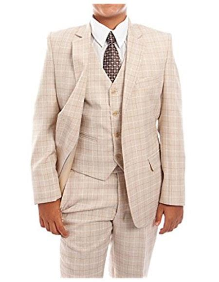 1920s Children Fashions: Girls, Boys, Baby Costumes Boys 3-Piece Check Tuxedo Taupe Suit Set With Matching Shirt  Tie $85.00 AT vintagedancer.com