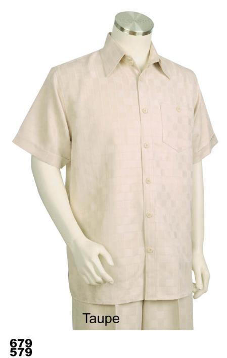 SKU#TU1111 Mens Casual Walking Suit Set (Shirt & Pants Included) Taupe