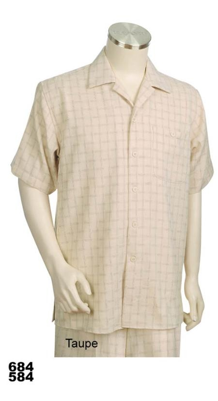 SKU#QH1009 Casual Walking Suit Set (Shirt & Pants Included) Taupe