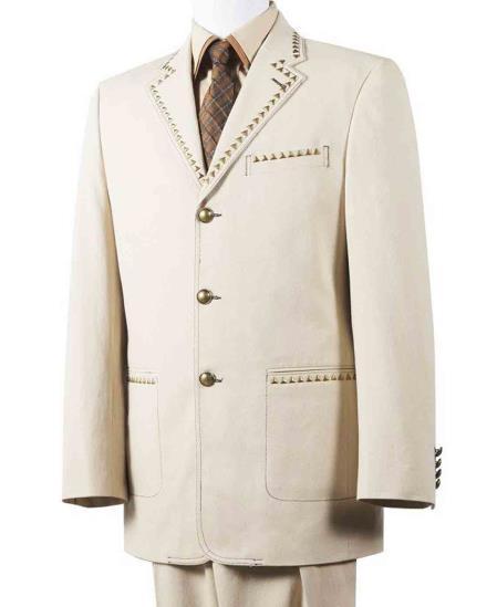Mens 2 Piece Taupe Wide Notch Lapel Cotton Diamond Nail Head Denim Suit