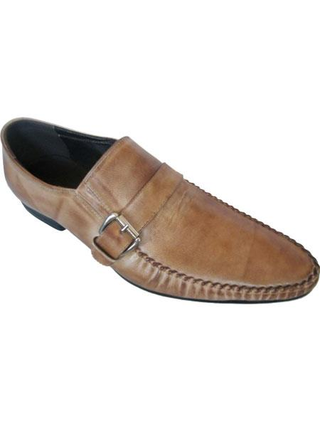 Zota Men's Unique Dress Unique Zota Men's Dress Shoe Brand Taupe Men's Side Buckle And Strap Leather Italian Style Stylish Dress Loafer
