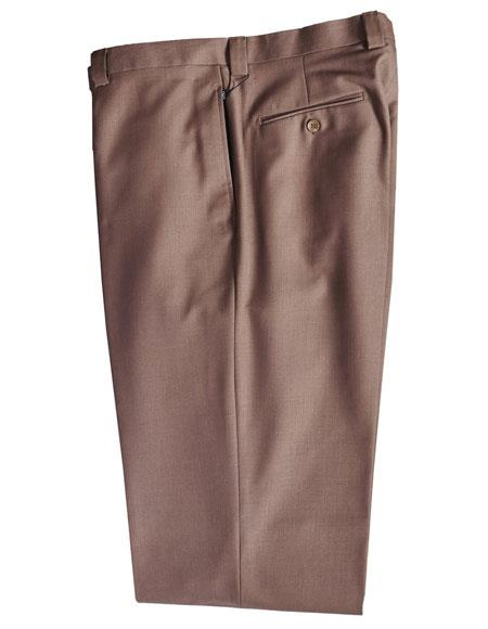 Mens Taupe 100% Wool Solid Pattern Dress Pants unhemmed unfinished bottom
