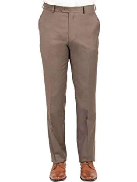 Taupe Men's Mantoni Wool Front Front Pant Modern Fit