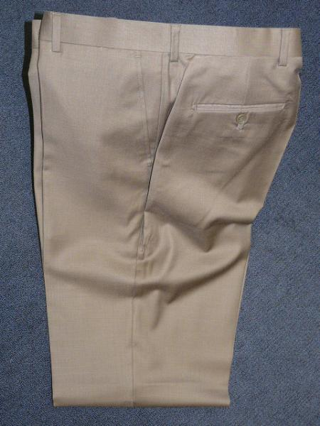 Taupe 100% WOOL , SUPER 140S Solid ~ plain FRONT PANTS - Cheap Priced Dress Slacks For Men On Sale