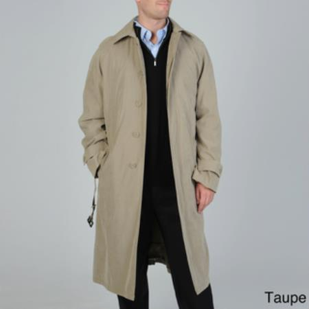 Mens Renny Full-length Belted Raincoat Taupe