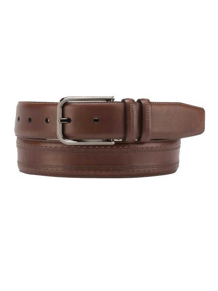 Mezlan Brand Mens Genuine Calfskin Taupe Skin Belt