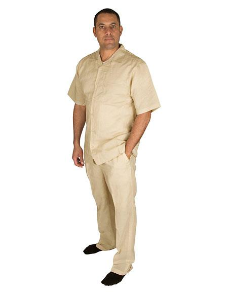 Mens Taupe Short Sleeve Button Closure 100% Linen 2 Piece With Pleated Pant Shirt