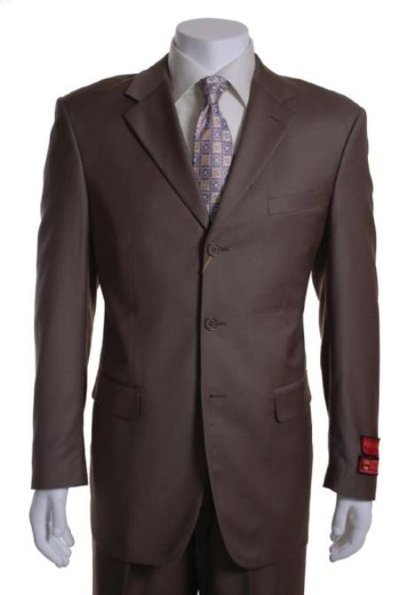 SKU#PL345 Taupe 3 Button Vented Wool with 1 Pleated Pants $295