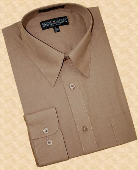 SKU#TA749 Taupe Cotton Blend Dress Shirt With Convertible Cuffs $29