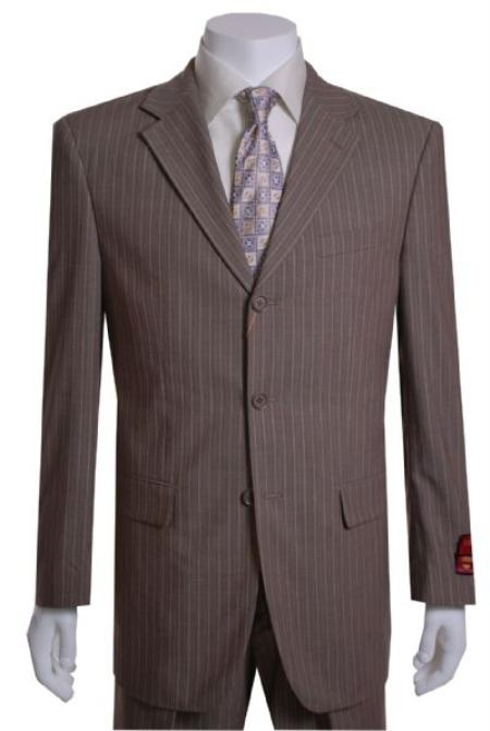 SKU#GF311 Taupe Stripe 3 Button Vented Wool with 1 Pleated Pants $295
