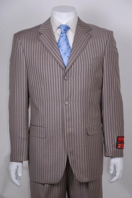 SKU#JI833 Taupe Stripe 3 Button Vented Wool with 1 Pleated Pants $295