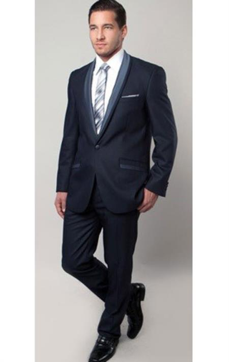 Tazio Brand Men's 1 Button Blue Two Toned Trimmed Slim Fitted Suit Fashion Tuxedo For Men