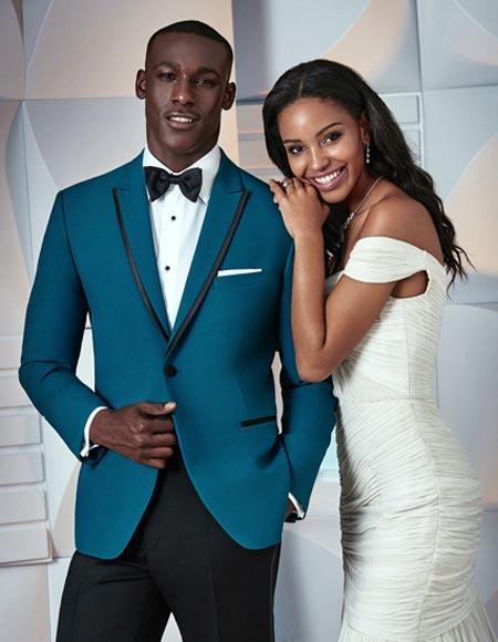 Teal Blue (Indigo ~ Bright Blue) Tuxedo Dinner Jacket Blazer Sport Coat