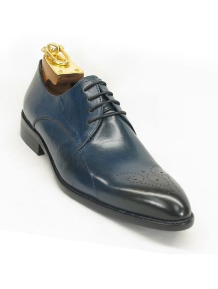 Mens Teal/Charcoal Fashionable Carrucci Lace Up Style Shoe