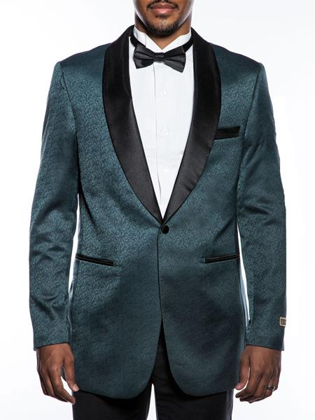 Men's Fancy Designed Teal Shawl Lapel Tuxedo Blazer